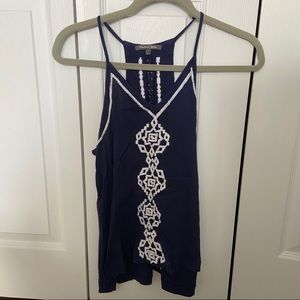 Light embroidered tank top